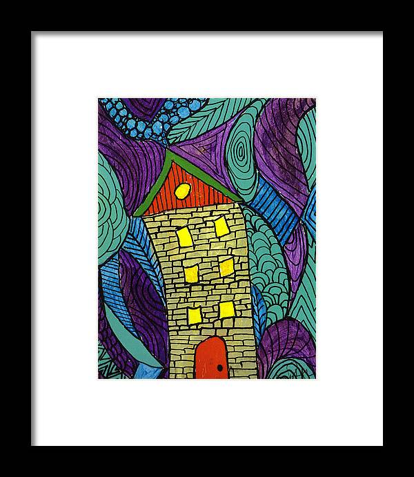 House Framed Print featuring the painting Crooked Yellow Brick House by Wayne Potrafka