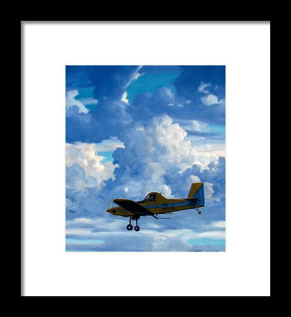 Airplanes Framed Print featuring the painting Crop Duster by Kevin Lawrence Leveque