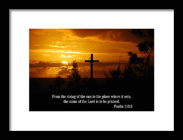 Christian Framed Print featuring the photograph Cross At Sunrise by Steven Rice