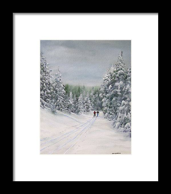 Ski. Skiing Framed Print featuring the painting Cross Country Skiers by Ken Ahlering