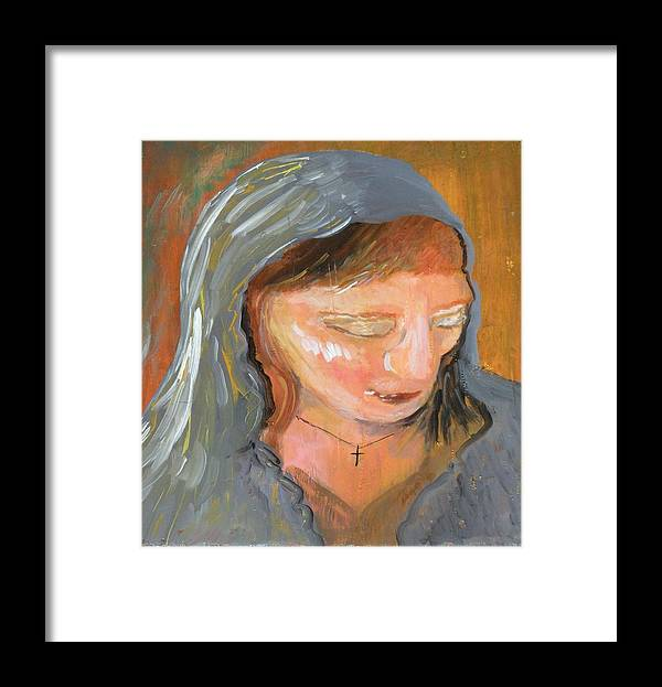 Angel Framed Print featuring the painting Cross for Maria by J Bauer