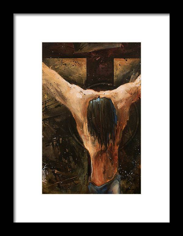 Crucifix Framed Print featuring the painting Cross by Michael Lang