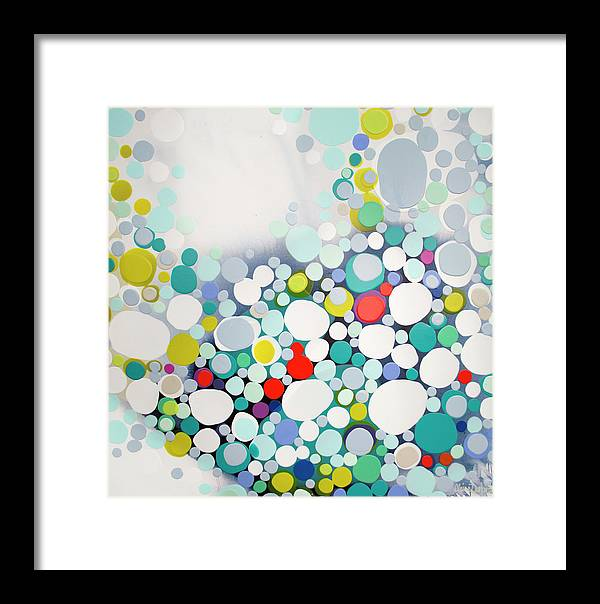 Abstract Framed Print featuring the painting Cross The Line by Claire Desjardins