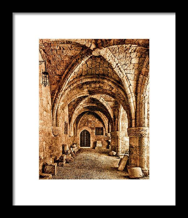 Framed Print featuring the photograph Rhodes, Greece - Cross Vault by Mark Forte
