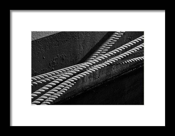 Rope Mooring Dock Line Ship Boat Water River Hull Paint Ropes Framed Print featuring the photograph Crossed Ropes by William Haney