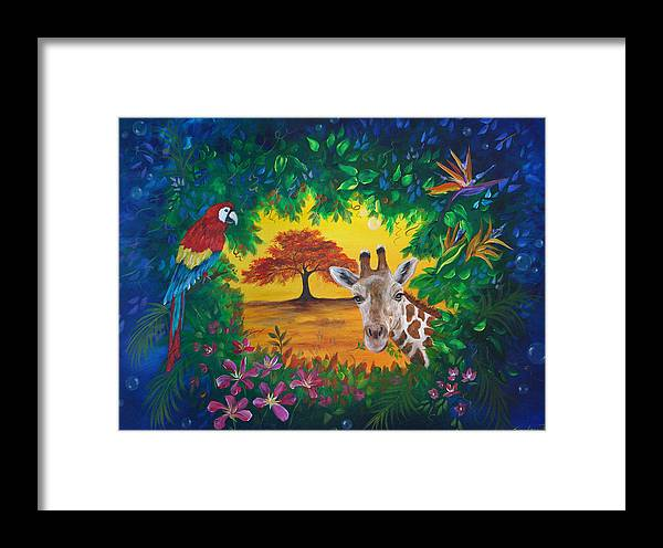 Giraffe Framed Print featuring the painting Crossing Into New Realms by Sundara Fawn