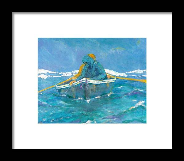 Fishermen Framed Print featuring the painting Crossing Over by Ruth Mabee