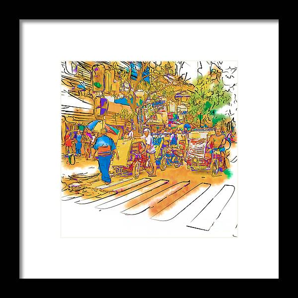 Asia Framed Print featuring the drawing Crosswalk In The Philippines by Rolf Bertram