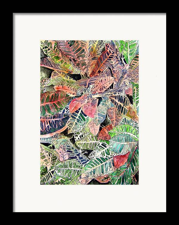 Croton Framed Print featuring the painting Croton Tropical Art Print by Derek Mccrea