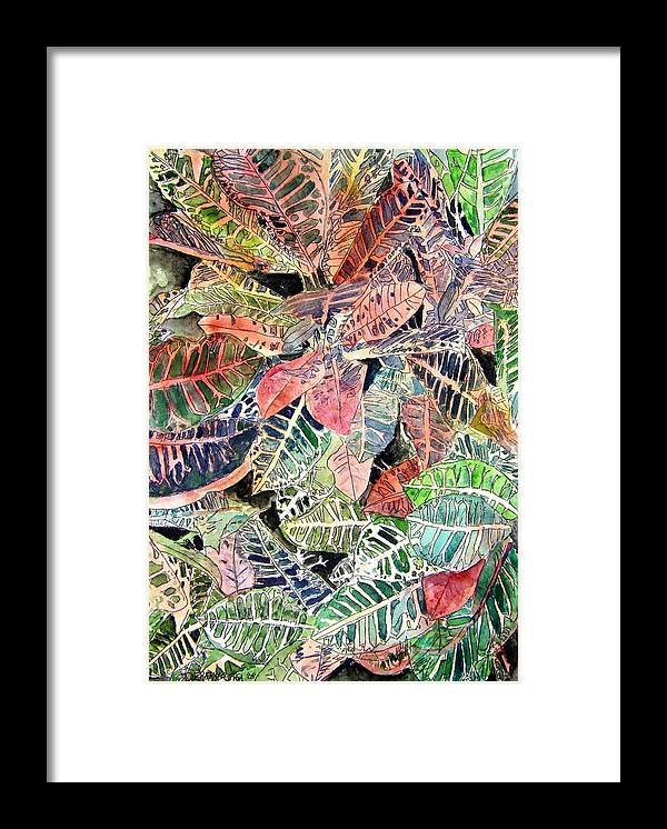 Croton Framed Print featuring the painting Croton tropical art print by Derek Mccrea