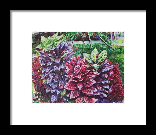 Landscape Framed Print featuring the painting Crotons 1 by Usha Shantharam