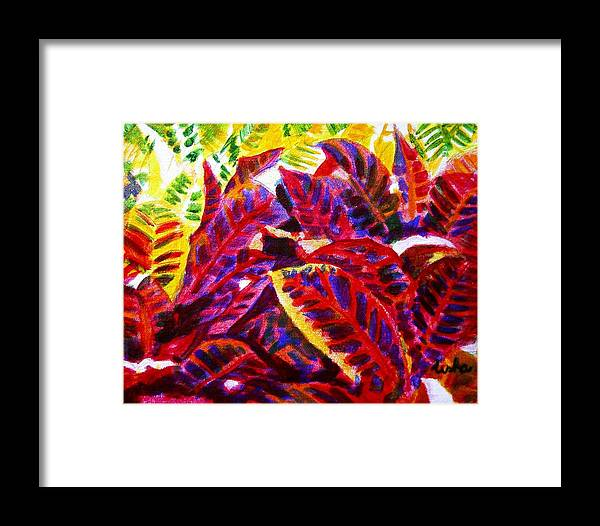 Nature Framed Print featuring the painting Crotons Sunlit 1 by Usha Shantharam