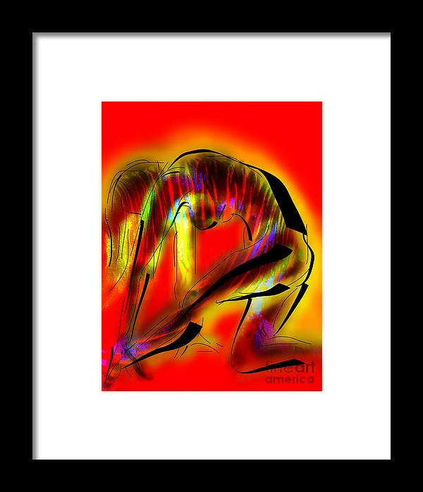 Female Nude Framed Print featuring the painting Crouching Tiger by Iglika Milcheva-Godfrey