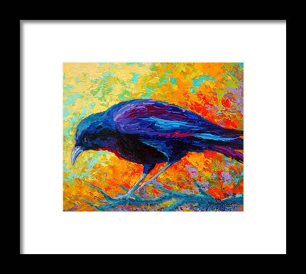 Crows Framed Print featuring the painting Crow IIi by Marion Rose