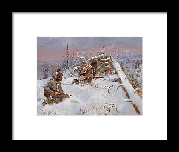 Crow Indians Hunting Elk Framed Print by Charles Marion Russell
