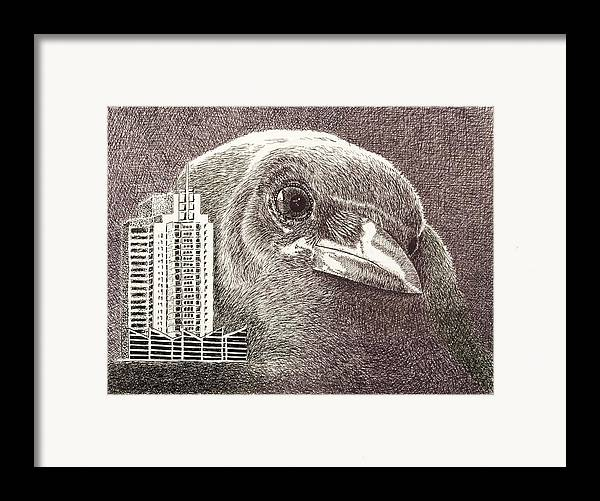 Pen Framed Print featuring the drawing Crow Over Casino Windsor by Wade Clark