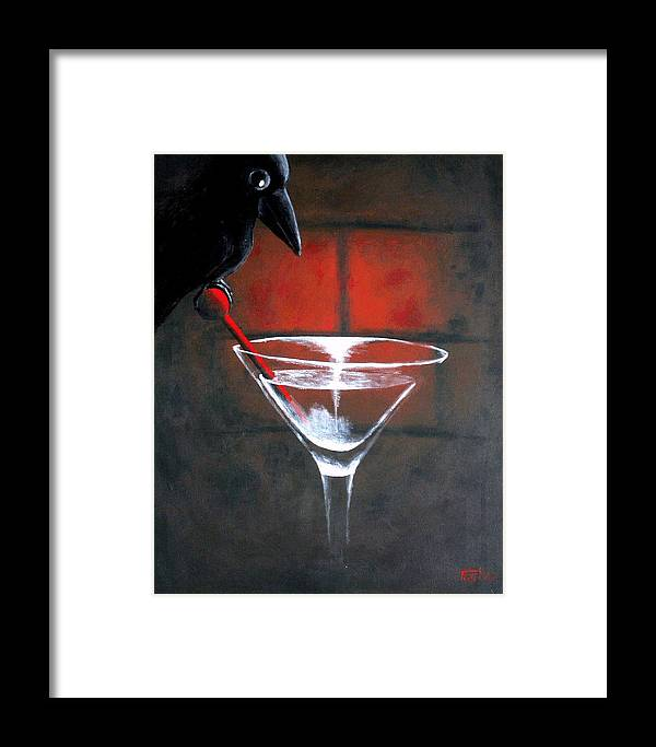 Crow Martini Framed Print featuring the painting Crow by Poul Costinsky