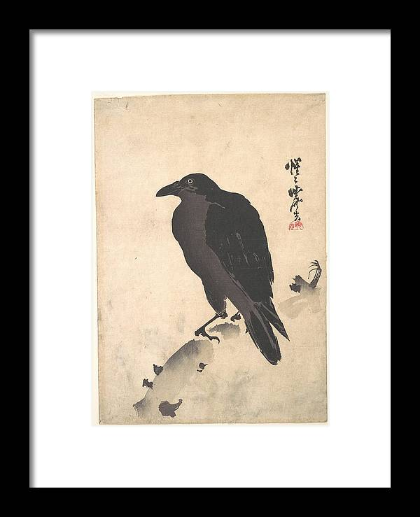 Kawanabe Kyosai - Crow Resting On Wood Trunk Framed Print featuring the painting Crow Resting On Wood Trunk by Eastern Accent