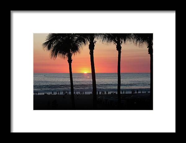 Beach Framed Print featuring the photograph Crowd at Sunset by Gravityx9 Designs
