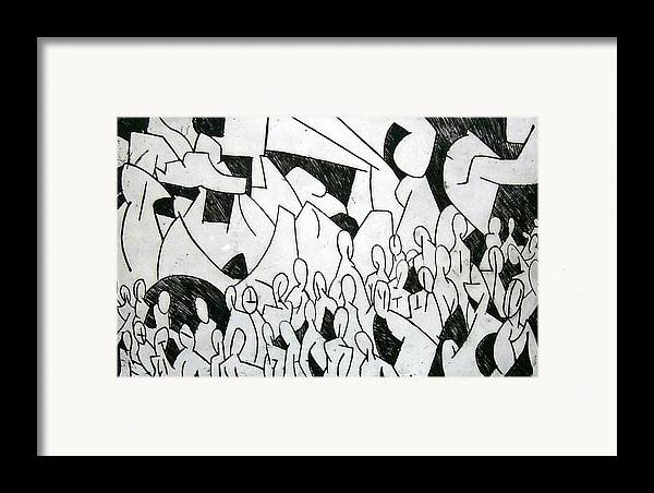 Etching Framed Print featuring the print Crowd by Thomas Valentine