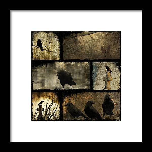 Crows Collage Framed Print featuring the digital art Crows And One Rabbit by Gothicrow Images