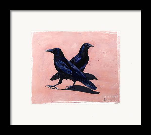 Crows Framed Print featuring the painting Crows by Sandi Baker