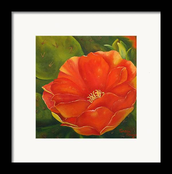 Cactus Framed Print featuring the painting Cruces Bloom by Teresa Lynn Johnson