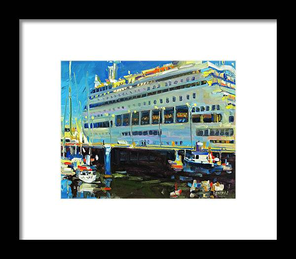 Paintings Framed Print featuring the painting Cruise Ship by Brian Simons