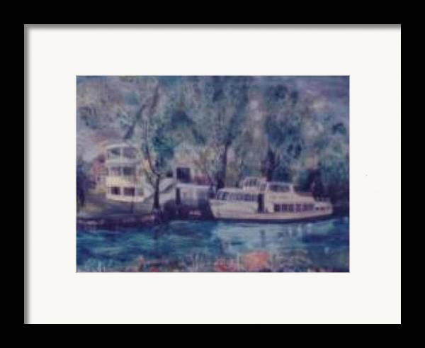 River Cruiseboat On Rhine Germany Swans Framed Print featuring the painting Cruiseboat On Rhine River Germany by Alfred P Verhoeven
