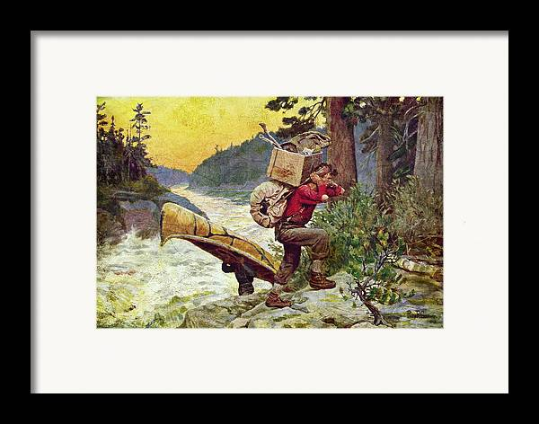 Phillip Goodwin Framed Print featuring the painting Cruisers Making A Portage by JQ Licensing