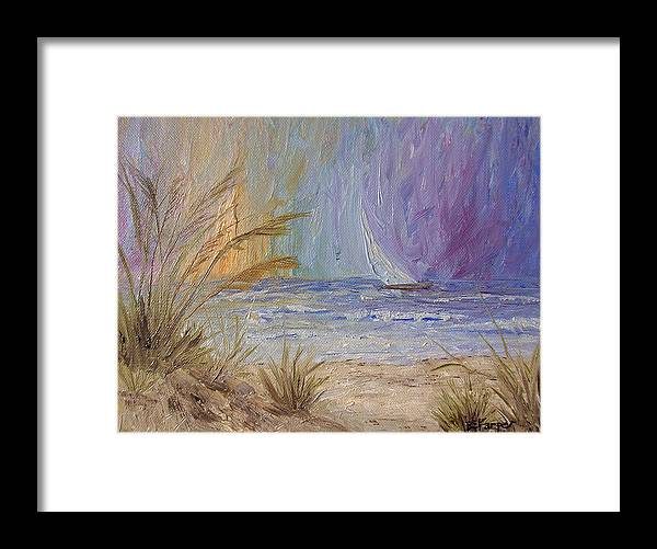 Sailboats Framed Print featuring the painting Cruising The Ocean by Barbara Harper