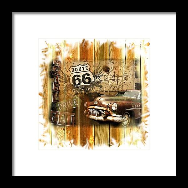 1952 Buick Framed Print featuring the digital art Crusin N Dining On Rt 66 by Eugene Nowell
