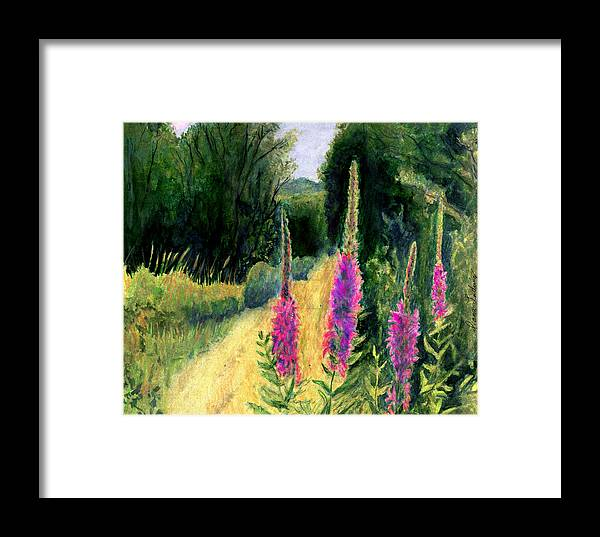 Loosestrife Framed Print featuring the painting Crybaby Bridge On Egypt Road by Diana Ludwig