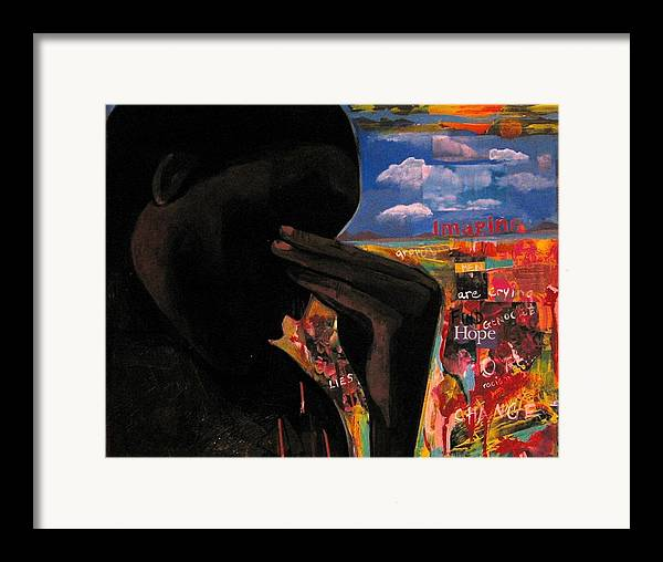 African American Framed Print featuring the painting Crying Man Change by Joyce Owens