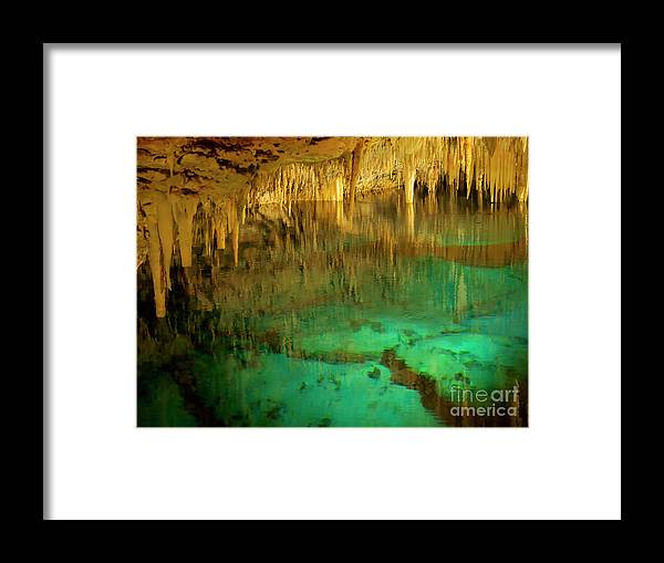 Crystal Cave Framed Print featuring the photograph Crystal Cave Hamilton Parish Bermuda by Louise Heusinkveld