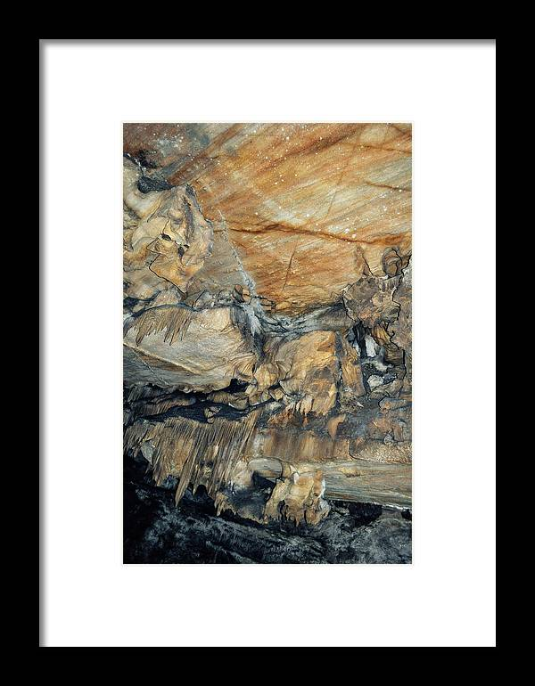 Sequoia National Park Framed Print featuring the photograph Crystal Cave Marble Formations Portrait by Kyle Hanson