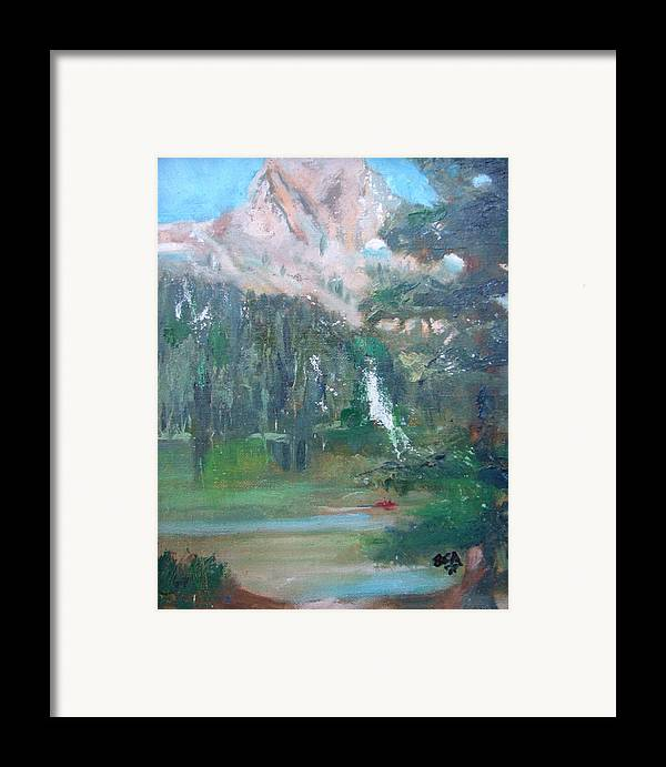 Lake Landscape Mountains Framed Print featuring the painting Crystal Craig At Pine Lake by Bryan Alexander