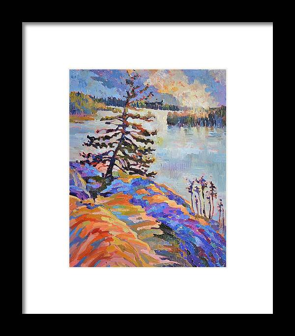 Bright Colours Framed Print featuring the painting Crystal Light Over The Lake by Annika Zalmover