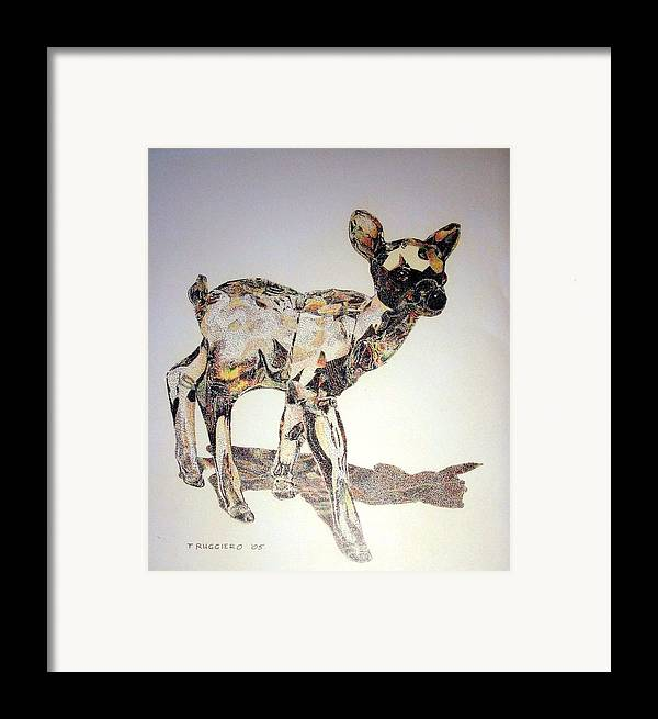 Deer Fawn Crystal Figurine Swarovsky Framed Print featuring the painting Crystal by Tony Ruggiero