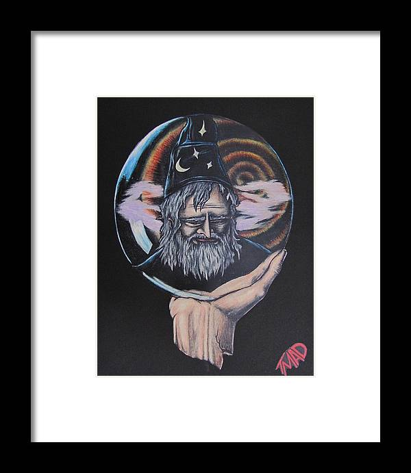 Michael Finney Framed Print featuring the drawing Crystal Wizard by Michael TMAD Finney