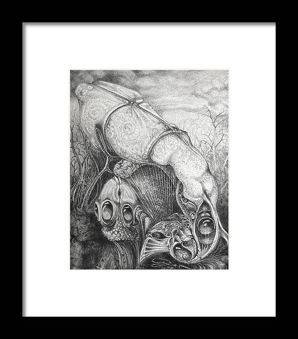 Surrealism Framed Print featuring the drawing Ctulhu Seedpods by Otto Rapp