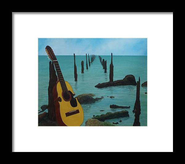 Seascape Framed Print featuring the painting Cuatro Seascape by Tony Rodriguez