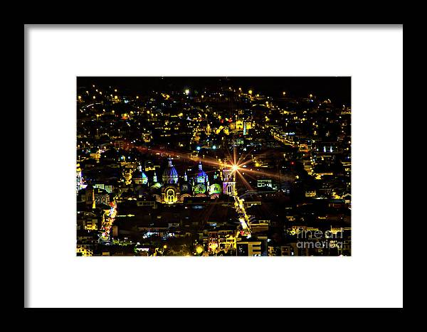 El Centro Framed Print featuring the photograph Cuenca's Historic District At Night by Al Bourassa