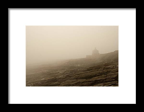 Cullernose Framed Print featuring the photograph Cullernose Point In The Mist by John Cox