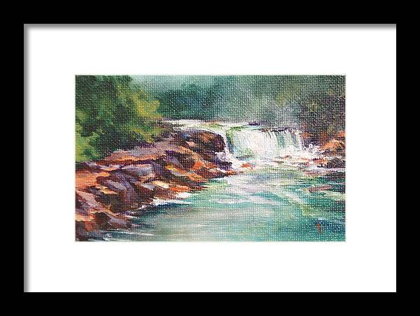 Waterfall Framed Print featuring the painting Cumberland Falls by Donna Pierce-Clark