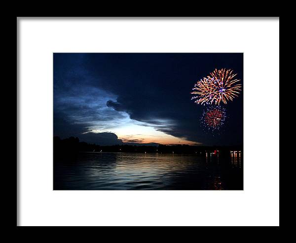 Fireworks Framed Print featuring the photograph Cup Fireworks by Ty Helbach