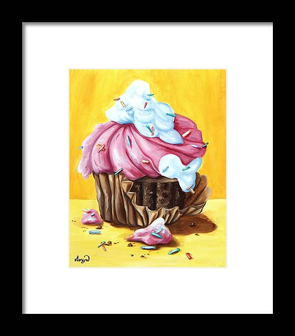 Cupcake Framed Print featuring the painting Cupcake by Maryn Crawford