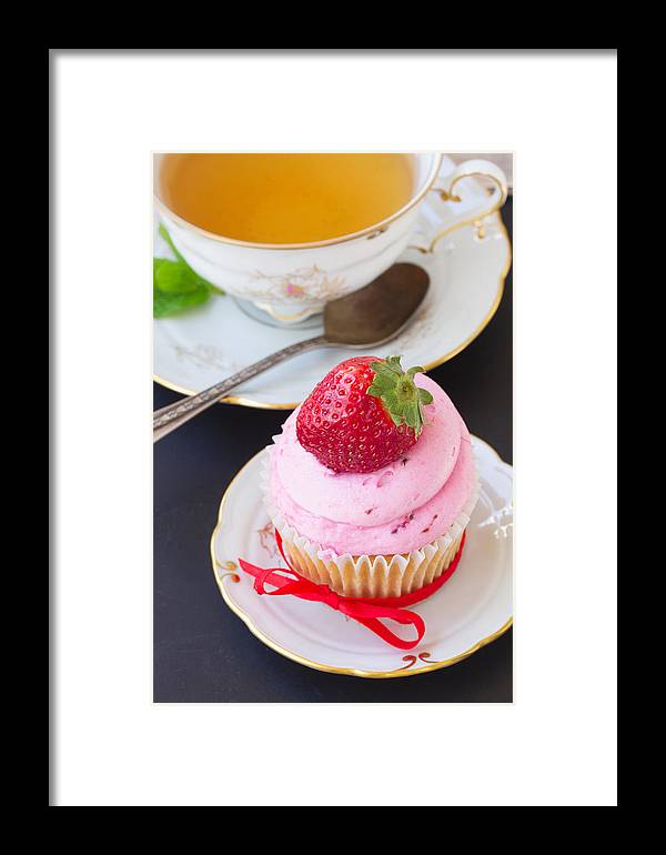 Cup-cake Framed Print featuring the photograph Cupcake With Strawberry by Anastasy Yarmolovich
