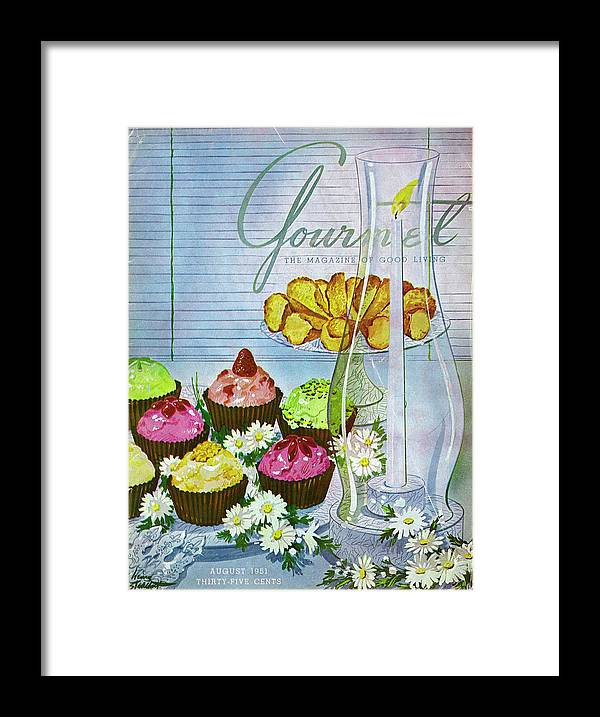 Illustration Framed Print featuring the photograph Cupcakes And Gaufrettes Beside A Candle by Henry Stahlhut