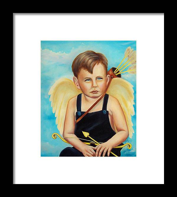 Angel Framed Print featuring the painting Cupid by Joni McPherson